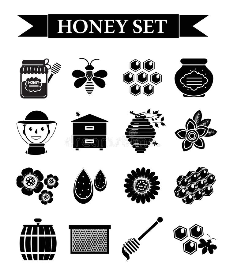 Honey icons set, black silhouette style. Beekeeping collection of objects isolated on white background. Apiculture kit. Of design elements. Vector illustration stock illustration