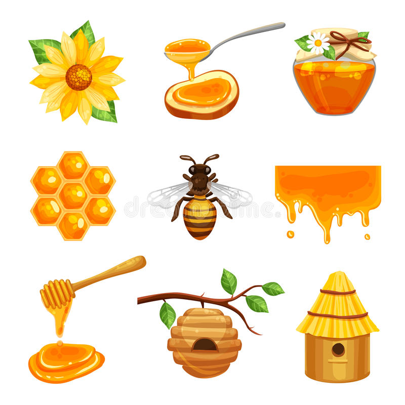Honey Isolated Icon Set illustrazione vettoriale
