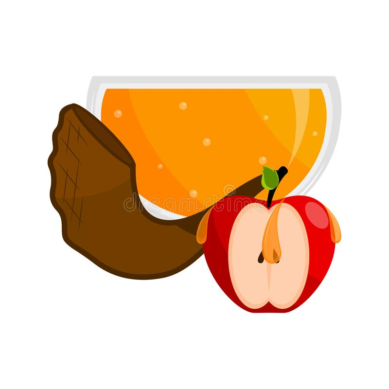 Honey jar with an apple and a shofar. Rosh hashanah stock illustration