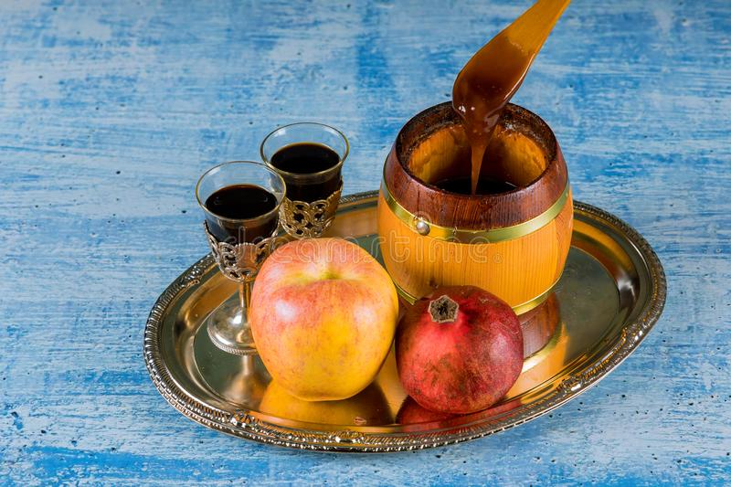 Honey jar with apples Rosh Hashana hebrew religious holiday. Shofar, honey and pomegranate, jewish, food, yom, kippur, synagogue, jewesh, horn, shanah, tova stock photos