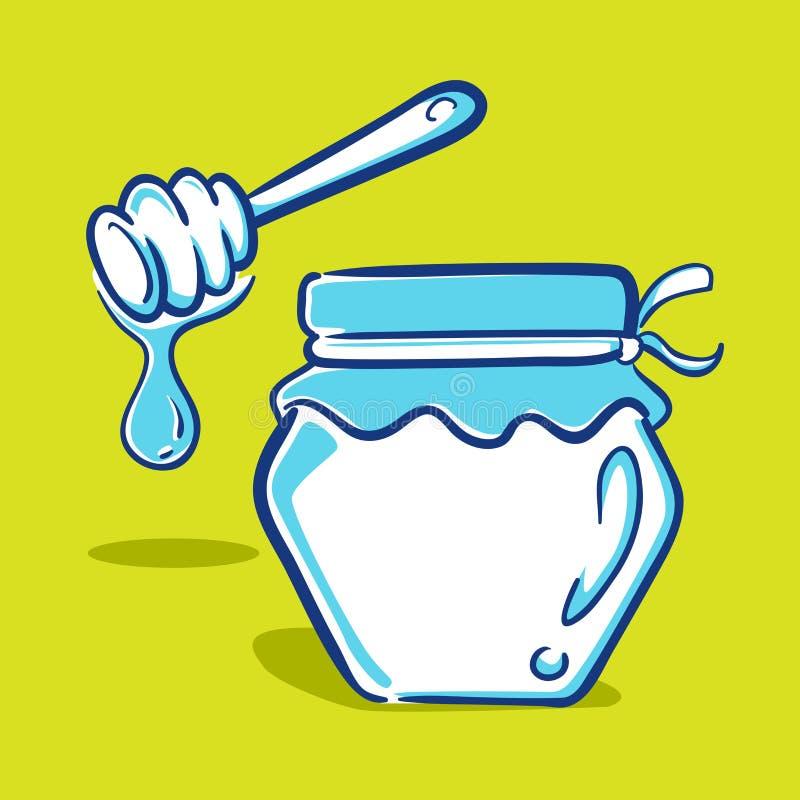 Honey Jar - Blauwe Reeks stock illustratie
