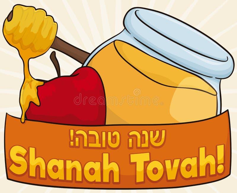 Honey Jar con Dipper e Apple per il nuovo anno ebreo, illustrazione di vettore illustrazione di stock