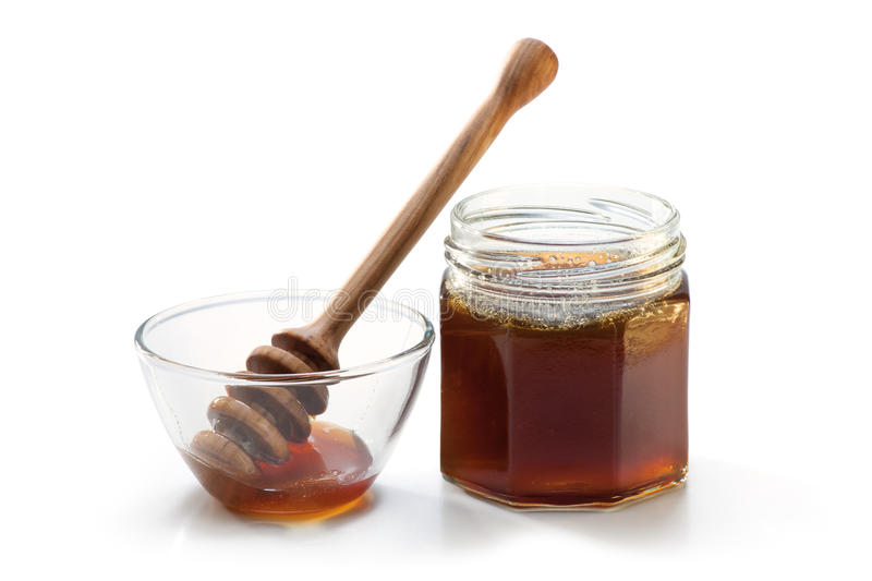 Honey Jar and dipper stock photo