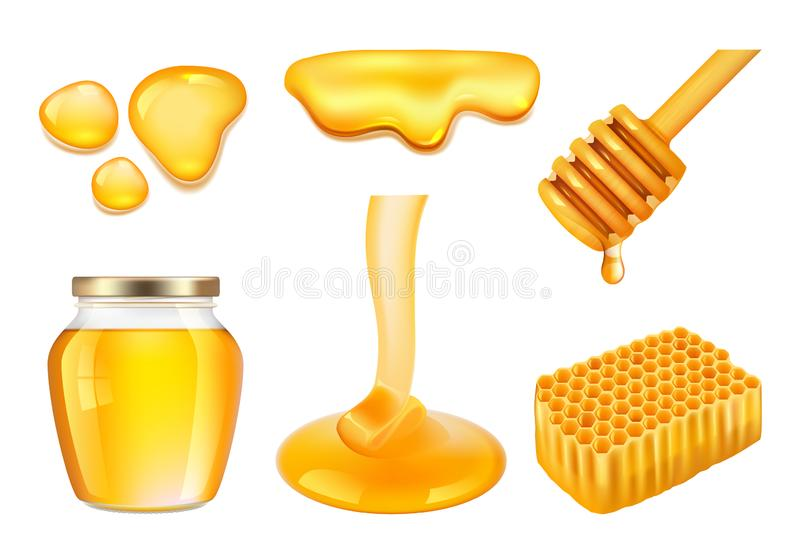 Honey jar. Golden or yellow sticky splashes of farm honey and honeycomb vector realistic illustrations vector illustration