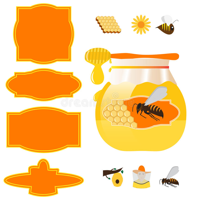 Honey jar and labels. Vector honey jar, labels and design elements for beekeeping industry royalty free illustration
