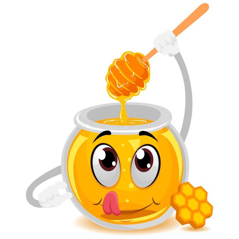 Honey Jar Mascot che tiene un bastone di legno di Dipper royalty illustrazione gratis