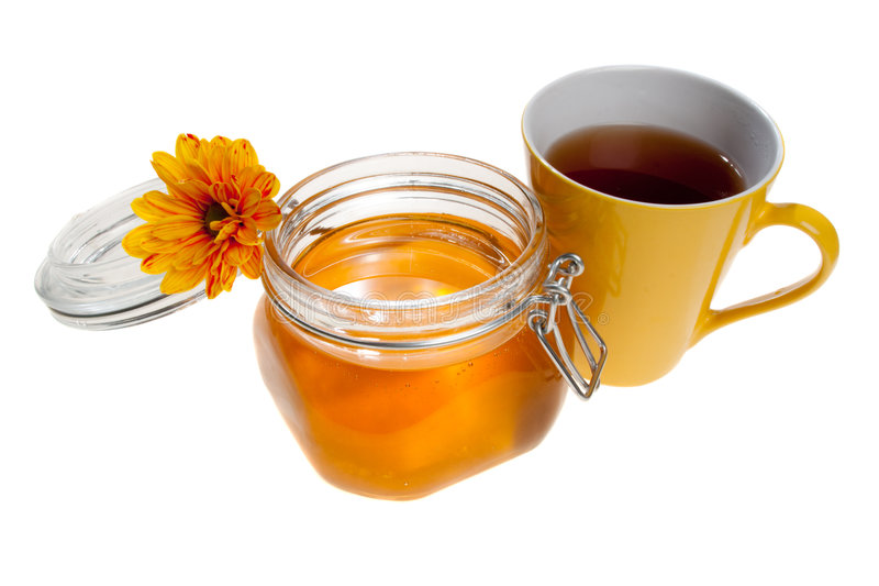 Honey Jar And Tea Cup, Isolated Stock Images