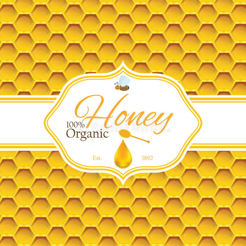 Honey label template for honey logo products with bee and drop of honey on Honeycomb colorfull pattern background stock illustration