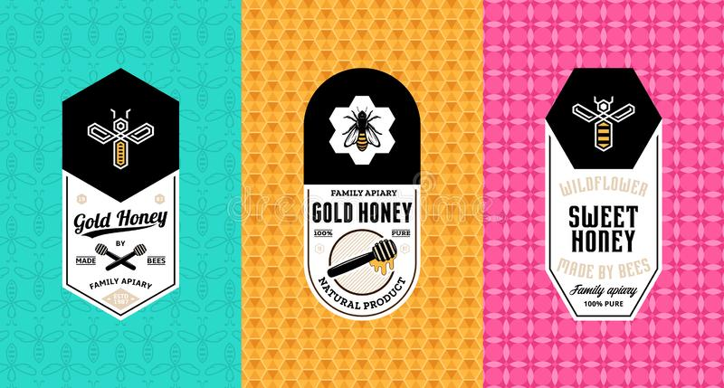 Honey labels, logo and packaging design. Templates for apiary and beekeeping products, branding and identity. Vector honey illustration and patterns royalty free illustration