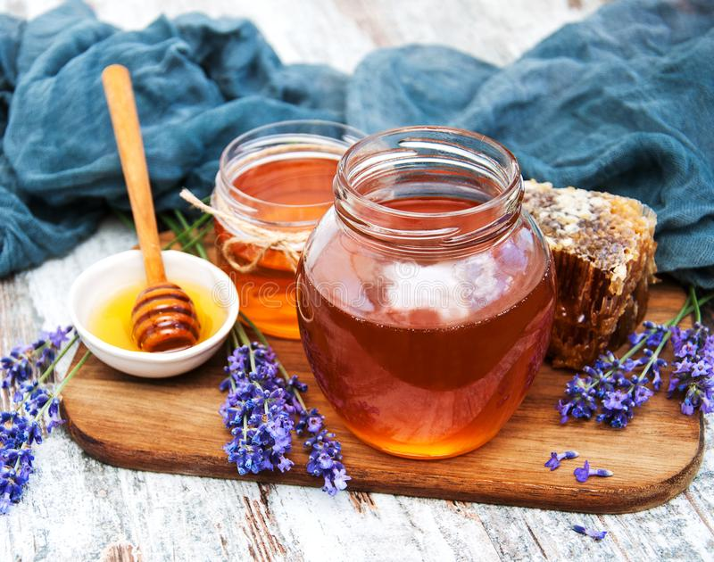 Honey and lavender royalty free stock images