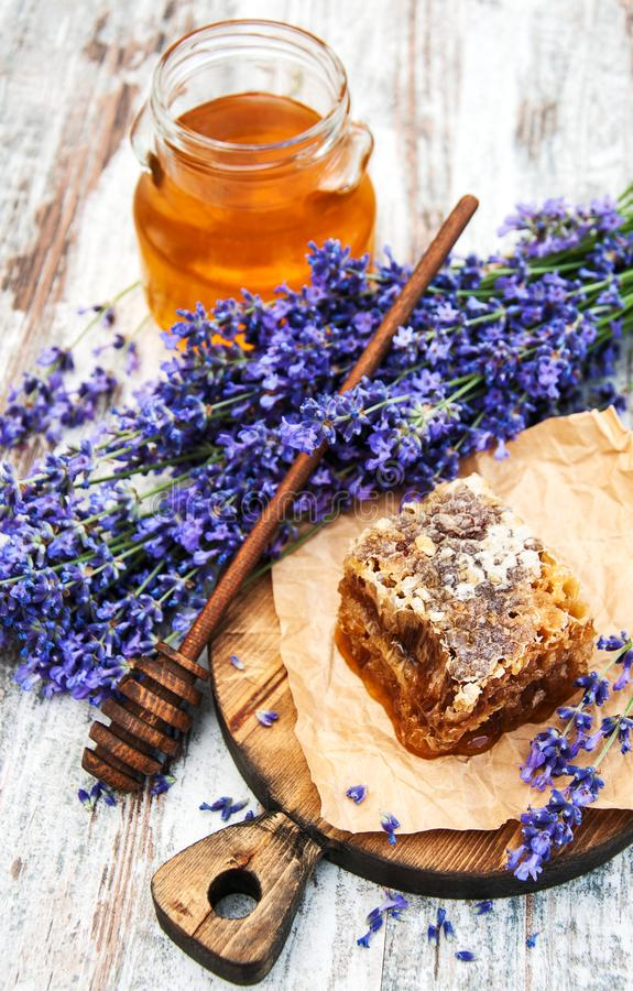 Honey and lavender stock image