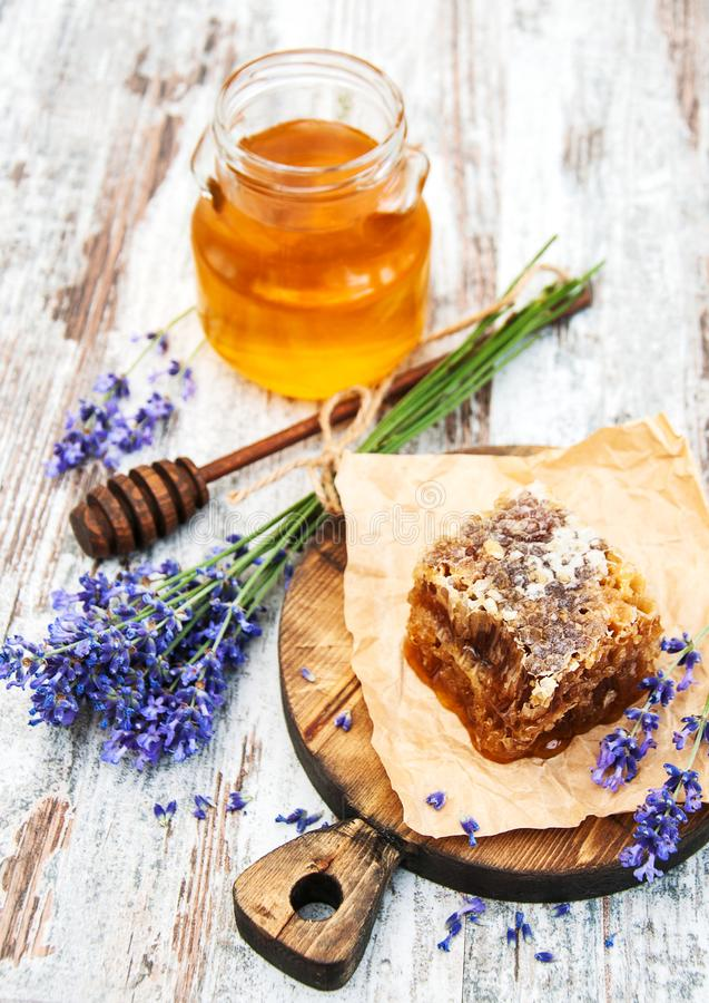 Honey and lavender royalty free stock image