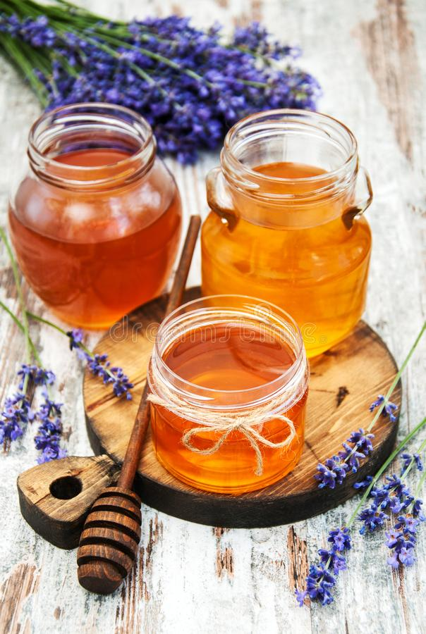 Honey and lavender stock photo