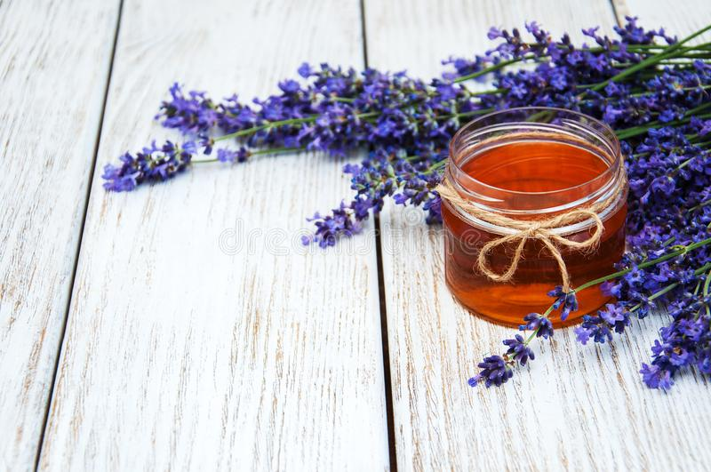 Honey and lavender stock photos