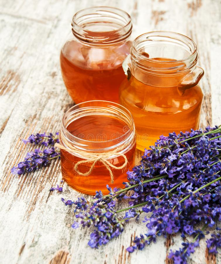Honey and lavender stock photography