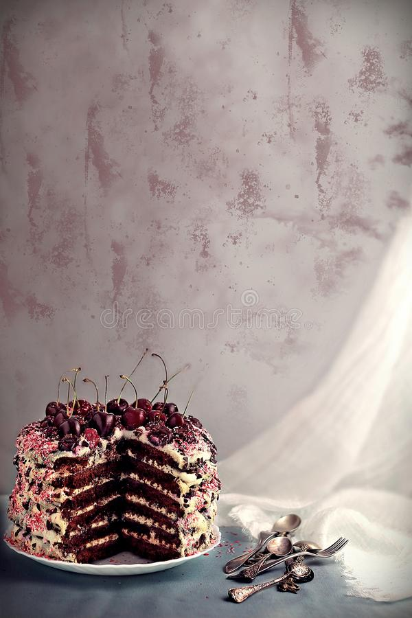 Honey layer cake with cherries and mascarpone cream. On brown board royalty free stock photos