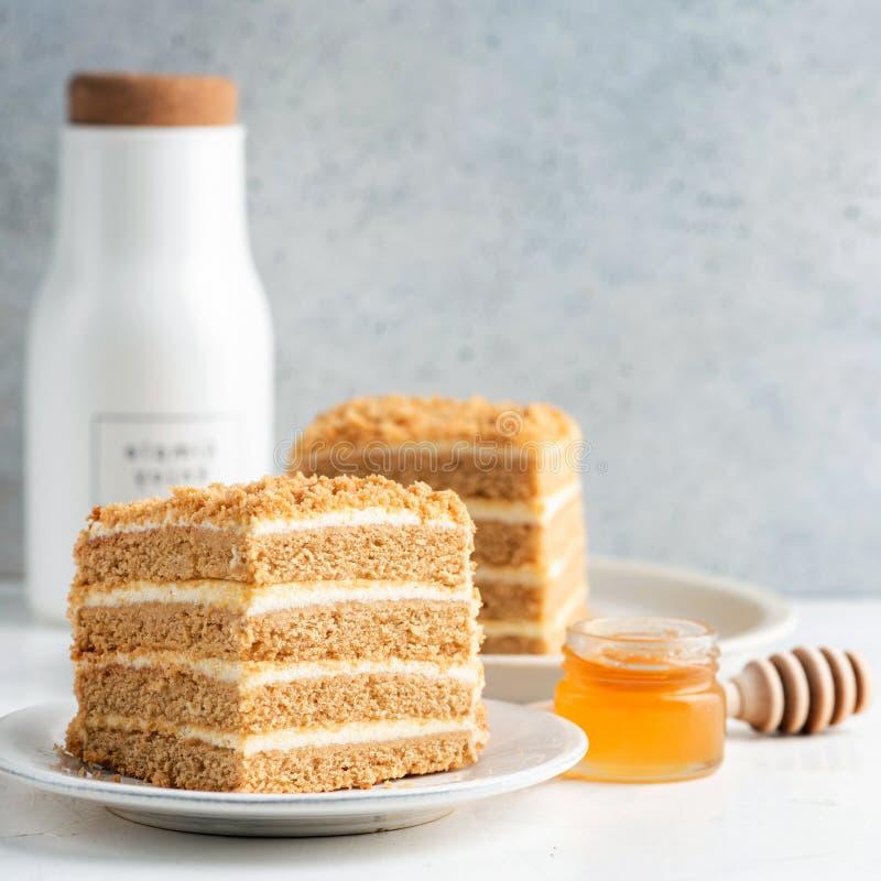 Honey layer cake Medovik stock images