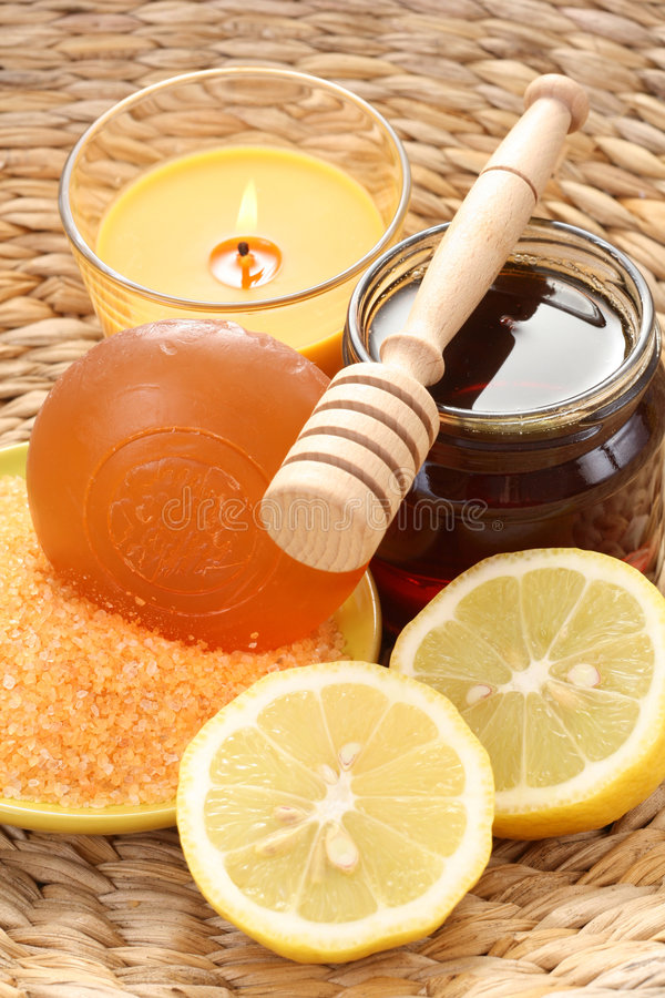 Honey and lemon bath stock photography