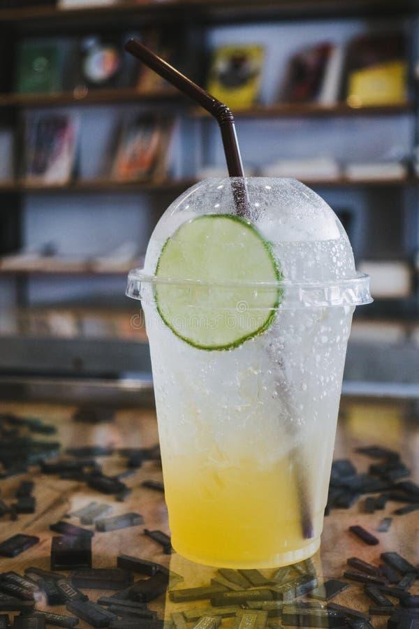 Honey lemon drink on the cafe. royalty free stock photo