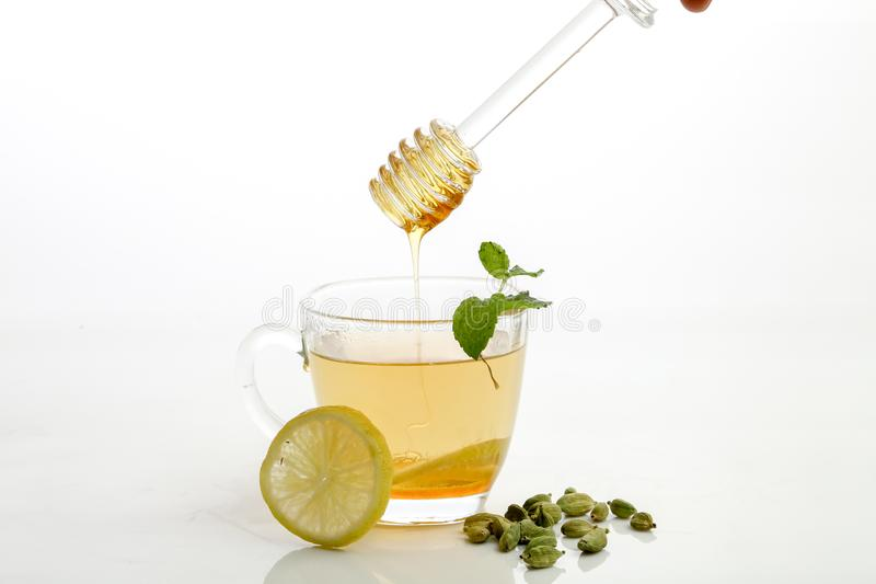 Honey and lemon tea stock photo