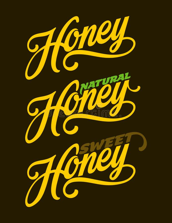 Honey lettering text. Hand drawn calligraphy vector illustration. vector illustration