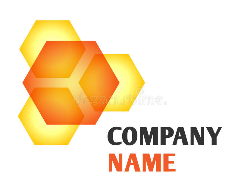Honey logo. Isolated vector company logo with golden honeycomb icon and name on white background