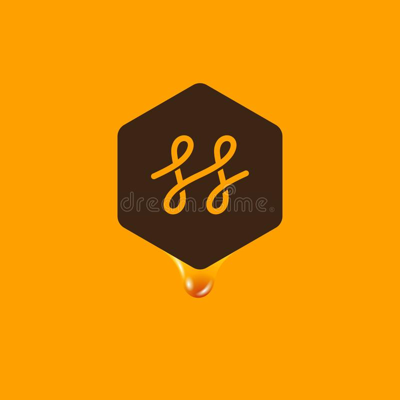 Honey logo. Honey emblem. Letter H in a hexagon with a drop of honey on a yellow background. vector illustration