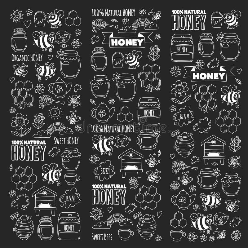 Honey market, bazaar, honey fair Doodle images of bees, flowers, jars, honeycomb, beehive, spot, the keg with lettering stock illustration