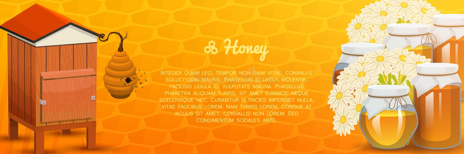 Honey or natural farm product. beekeeping or garden. Health, organic sweets, medicine illustration, agriculture. food in stock illustration