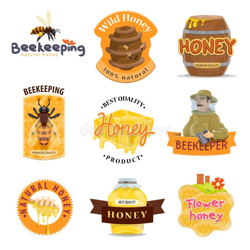 Honey natural food icon of beekeeping farm product royalty free illustration