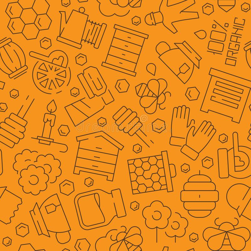 Honey pattern. Honeybee comb liquid healthy apiary products symbols vector seamless background royalty free illustration