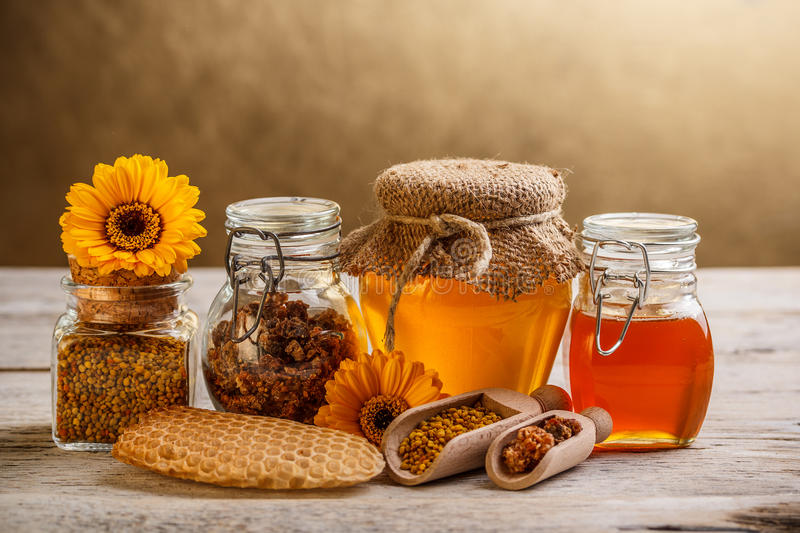 Honey and pollen royalty free stock images