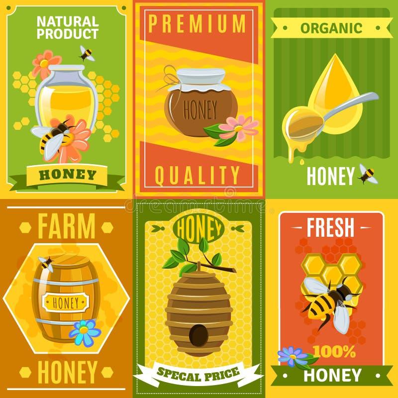 Honey Poster Set lizenzfreie abbildung