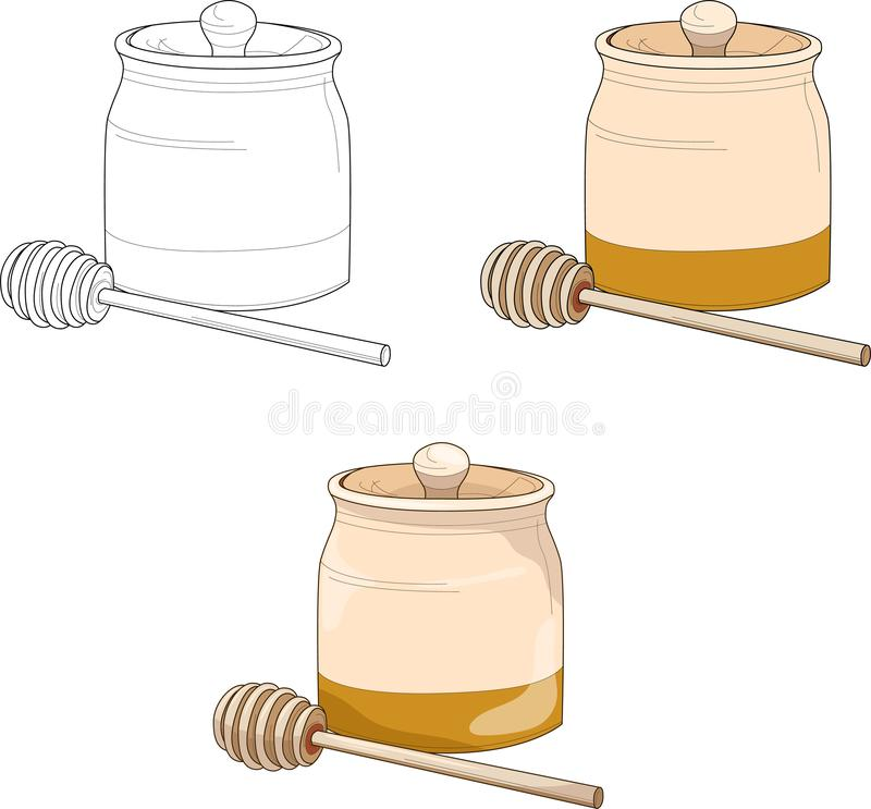 Honey pot in wood and gold. Vector illustration. royalty free illustration