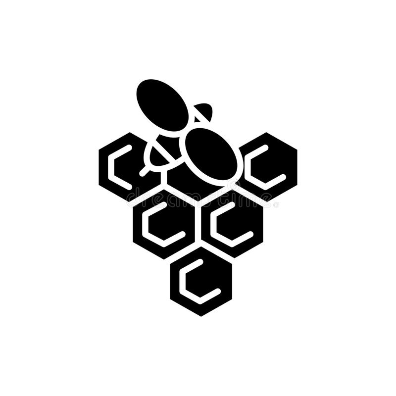 Honey production black icon concept. Honey production flat vector symbol, sign, illustration. stock illustration
