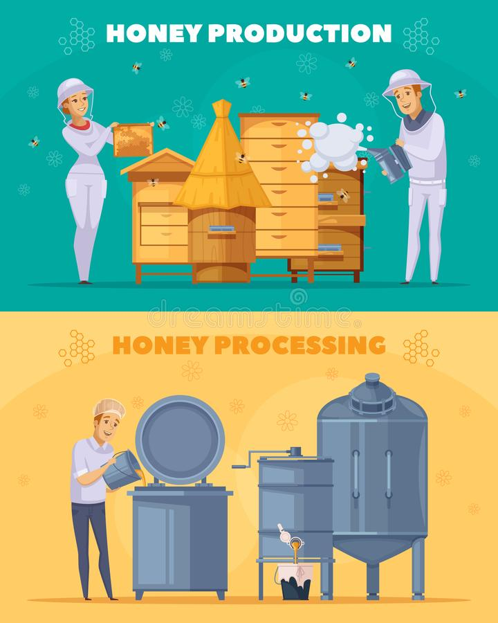 Honey Production Cartoon Horizontal Banners royalty illustrazione gratis