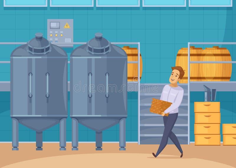 Honey Production Facility Cartoon Composition lizenzfreie abbildung