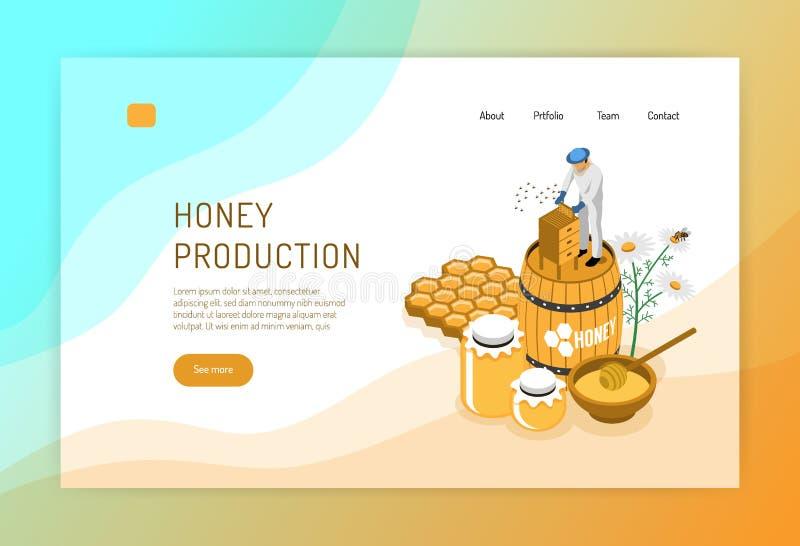 Honey Production Isometric Web Page illustrazione vettoriale