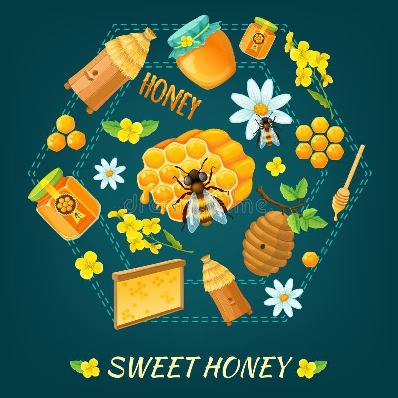 Honey Round Composition royalty-vrije illustratie