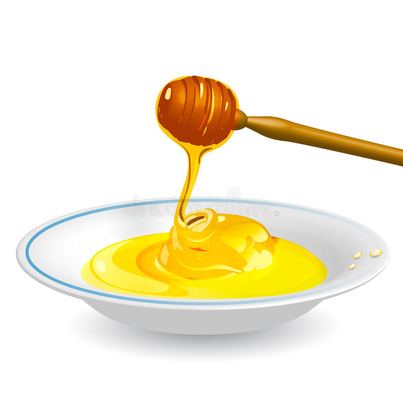 Honey on saucer royalty free illustration