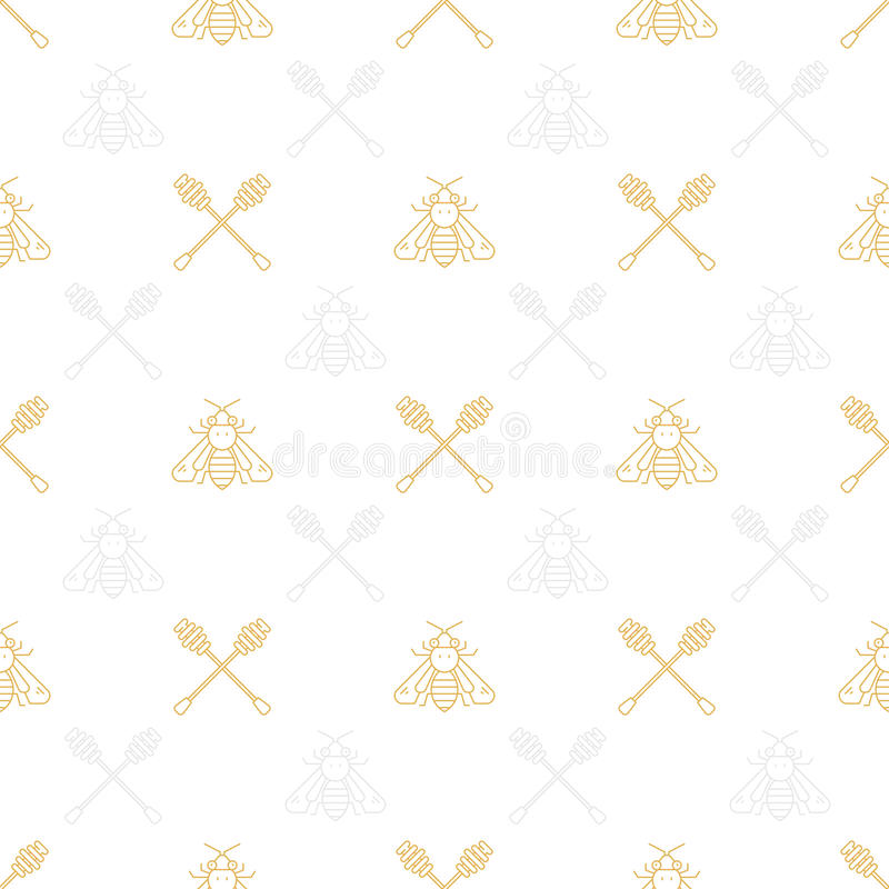 Honey Seamless Pattern. Honey products in a seamless pattern made in thin line vector style vector illustration