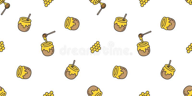 Honey seamless pattern vector bear bee polar bear bakery bake jam food scarf isolated illustration tail background wallpaper stock illustration