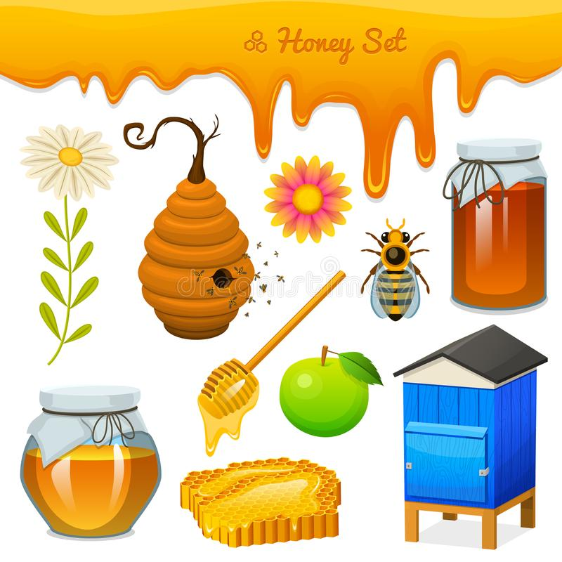 Honey set, bee and hive, spoon and honeycomb, hive and apiary. natural farm product. beekeeping or garden, flower. Chamomile, apple and jar. Health, organic vector illustration