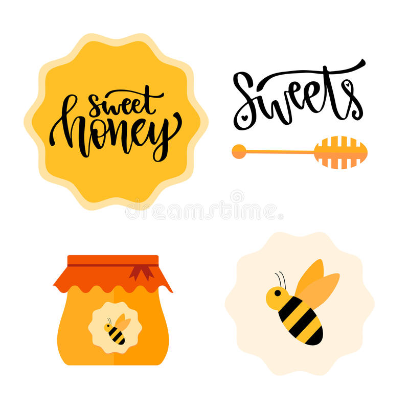 Honey set with calligraphic badge, jar and bee. Vector sweet set vector illustration
