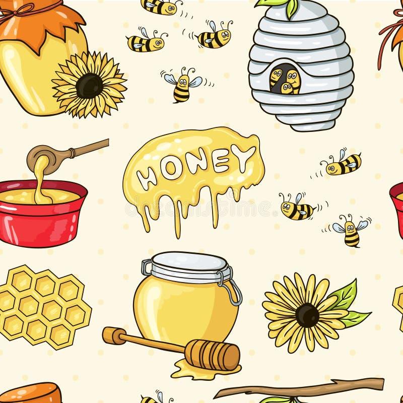 Honey set seamless pattern. Useful for restaurant identity, packaging, menu design and interior decorating royalty free illustration