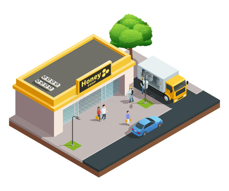 Honey Shop Isometric Composition vector illustration