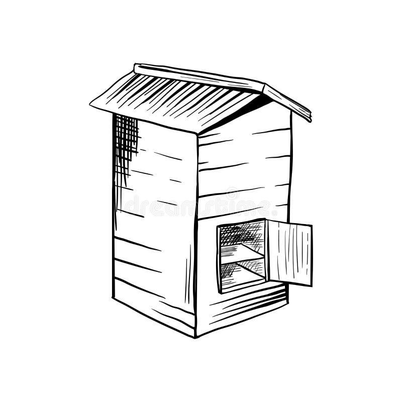 Honey Sketch Bee Hive com porta aberta ilustração stock