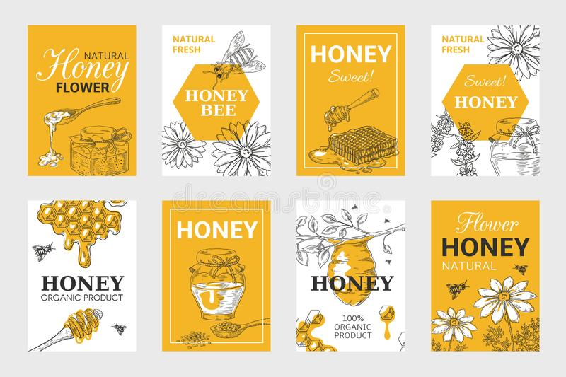 Honey sketch poster. Honeycomb and bees flyer set, organic food design, beehive, jar and flowers layout. Vector hand vector illustration