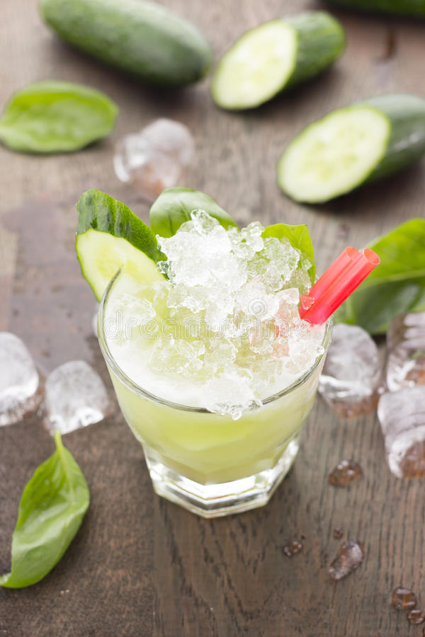 Honey smoothie with cucumber. royalty free stock photo