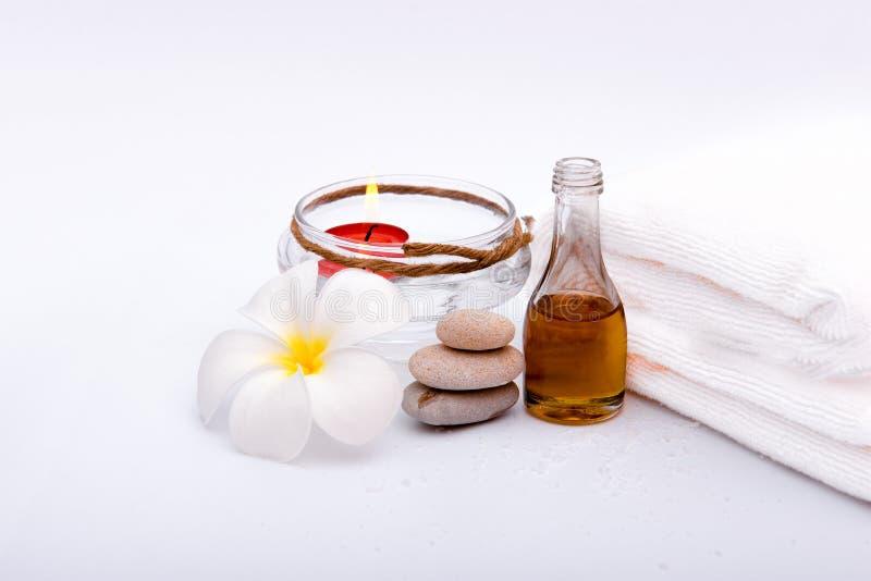 Honey spa, steen en bloem stock foto's